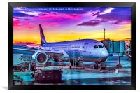 Plane Parked at Barajas Airport, Madrid, Spain, Framed Print