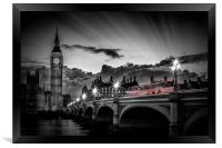 LONDON Westminster Bridge at Sunset, Framed Print