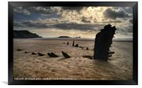 The wreck of the Helvetia at sunset, Rossili Bay, Framed Print