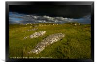 Arbor Low with rain clouds moving throught        , Framed Print