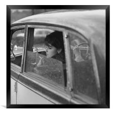 Girl in Car, Framed Print
