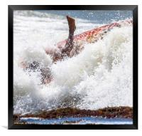 foot immersed in the surf, Framed Print