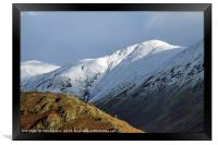 Fells above Troutbeck in Winter Lake District, Framed Print