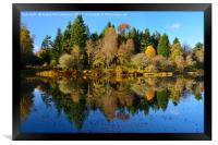Autumn reflections Penicuik Pond, Framed Print