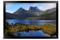 View across Dove Lake to Cradle Mountain, Framed Print
