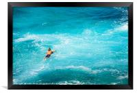 Surfers at the famous Hookipa Beach in the North s, Framed Print