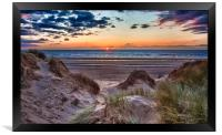 Sunset over Formby Beach through dunes, Framed Print