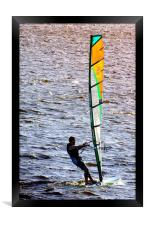 Wind-surfing in the afternoon          , Framed Print