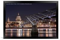 St Paul's and the Millennium Bridge at night, Framed Print