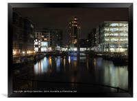clarence dock in leeds at night , Framed Print