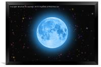 Blue super moon glowing against colorful starry sk, Framed Print