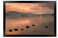 Loch Lomond jetty and mountains at sunset, Framed Print