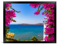Beautiful pink and purple flowers frame a sea view in Ortakent, , Framed Print