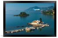 Vlacherna Monastery Kanoni and Mouse islands, Corfu, Greece, Framed Print