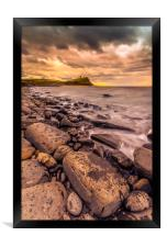 Rocks and ledges of Kimmeridge Bay at sunset, Framed Print