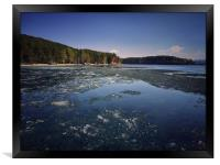 Spring landscape with ice drift on the lake.  , Framed Print