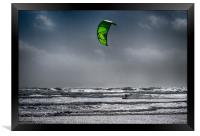 Para Surfing at Newgale.Pembrokeshire., Framed Print