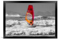 Windsurfing on Newgale Beach - Selective Colour., Framed Print