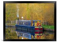 Canal Boat in Winter., Framed Print