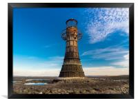 Whiteford Lighthouse at Whiteford Sands, Wales., Framed Print