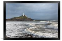 Mumbles lighthouse with wave., Framed Print