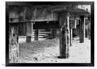 Under the old Wooden Ramp to Cart Gap Beach Norfol, Framed Print