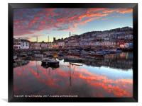 Brixham Harbour Sunset in August                  , Framed Print