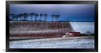 Red Roofed Barn in Snow, Framed Print