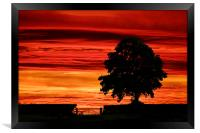 Spectacular sunset in the Derbyshire dales, Framed Print