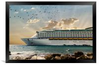 Front of Luxury Cruise Ship Moored Beyond Rocks, Framed Print