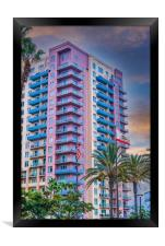 Colorful California Coastal Condo, Framed Print