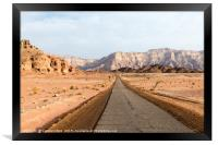 road in timan national park in south israel near e, Framed Print