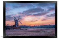 Cley Windmill at Sunset, Framed Print