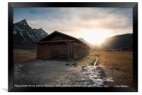 Barn with firewood at sunset in the Alps, Framed Print