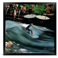 Surfer on the Eisbach at English Gardens, Munich, Framed Print