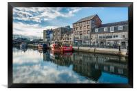 Fishing boats moored at Sutton harbour, Framed Print
