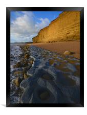 Golden cliff reflections, Framed Print
