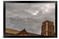 Storm clouds over the church, Framed Print