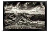 Dramatic view from the top of Grisedale Pike, Framed Print