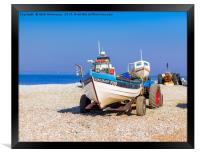 Cromer Crab & Fishing Boat with tractor in Sun, Framed Print