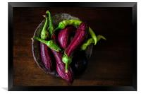 Hot Peppers and Aubergines, Framed Print