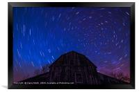 Brilliant star trails over old Ontario Barn, Framed Print