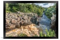 High Force Waterfall Teesdale - From The Top Down, Framed Print