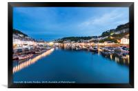 Looe harbour and the river, at night, Framed Print
