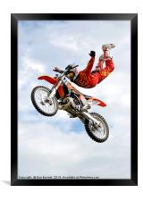 Motor Cycle Stunt Rider, Framed Print