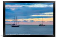 Boats at sunset on the Swale Estuary in Kent , Framed Print