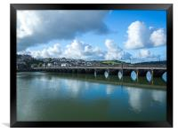 Bideford Long bridge in the sunshine of Devon, Framed Print