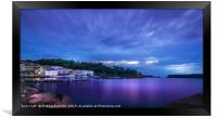 Panoramic view of the waterfront of Pylos, Greece., Framed Print