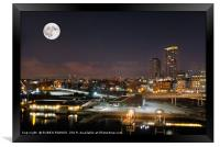 The Port of Vancouver at night, Canada., Framed Print
