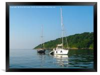 Boats at Anchor, Oxwich Point, Framed Print